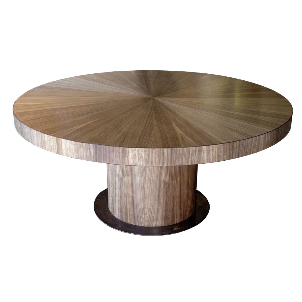 Astor round american walnut dining table with radial match for Astor dining table