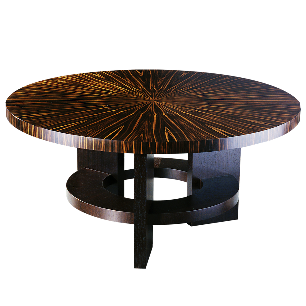 Fifth Avenue New York Art Deco Style Round Dining Table With Massacar Ebony Veneer