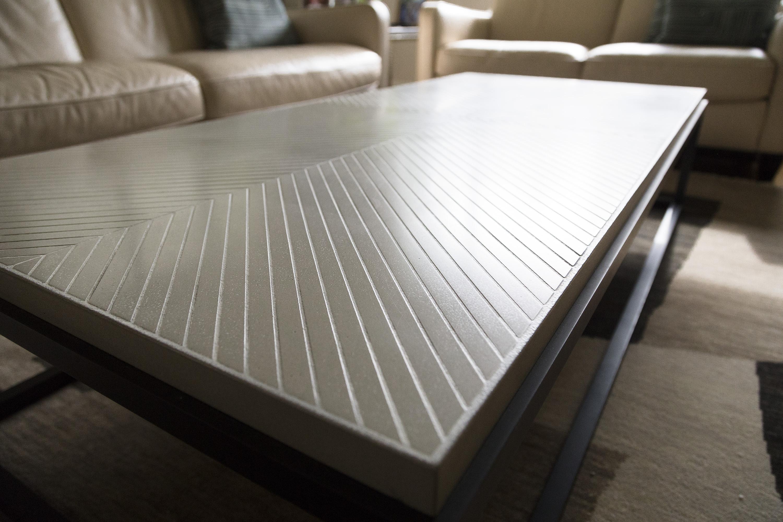 Herringbone Creme Stone Top Coffee Table with Black Steel base