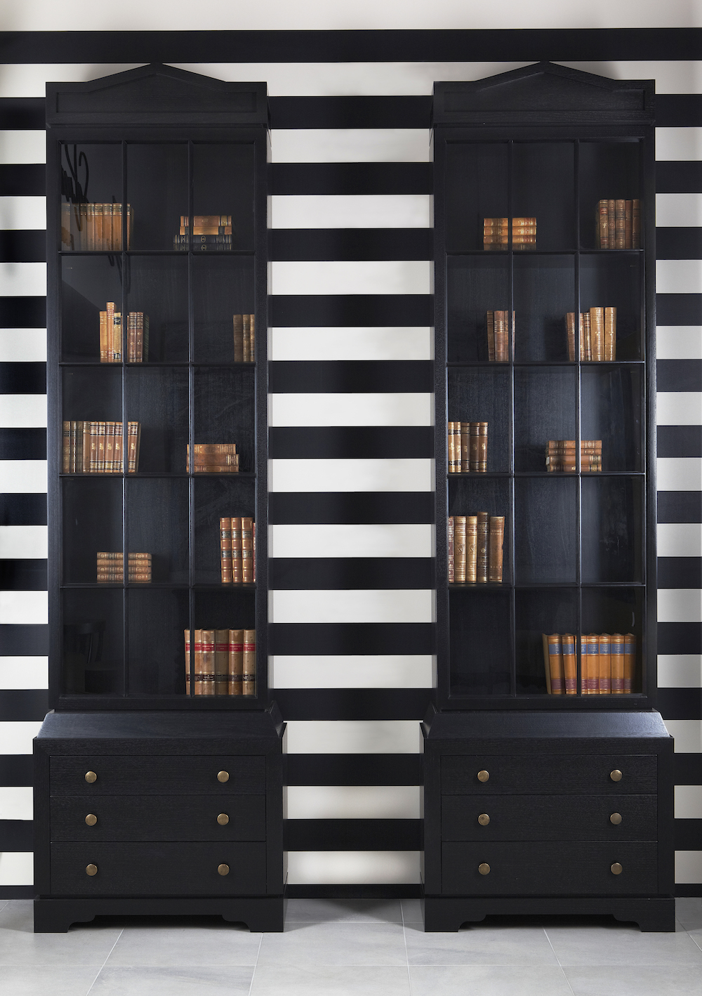 Tall Prestige Oxford Black Classic Style Bookcases With Glass Window Doors With Drawers James Salmond Furniture