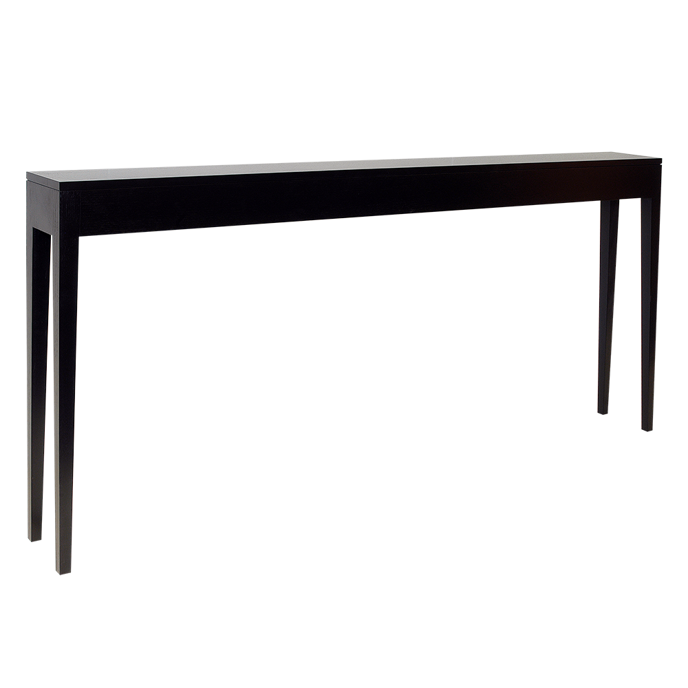 stiletto black console entry table with a slim design and slender tapered legs james salmond. Black Bedroom Furniture Sets. Home Design Ideas