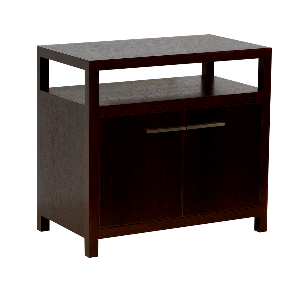 Varia contemporary bedside table with wenge veneer open shelf and two cupboards james salmond - Bedside table ...